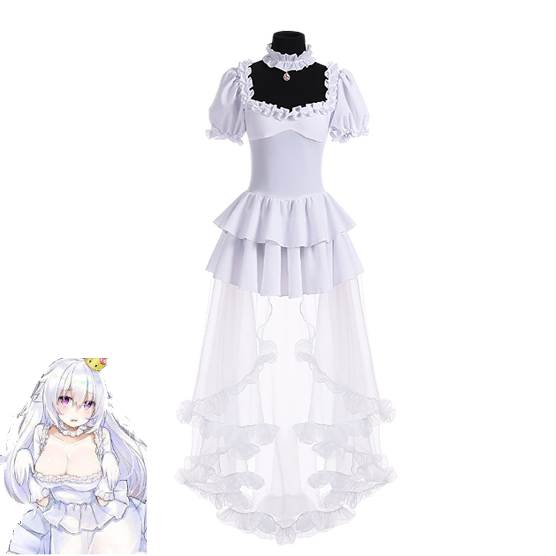 2019 Boosette Cosplay Costume Bowsette Cosplay Princess Koopa White Costume Women Long Dress Ball Gown Retro Medieval Dress