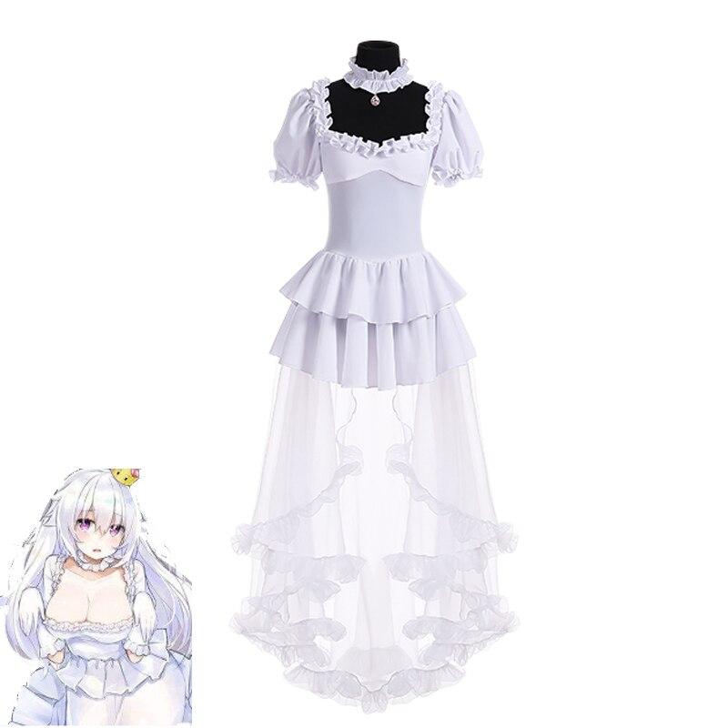 2019 Boosette Cosplay Costume Bowsette Cosplay princesse Koopa blanc Costume femmes longue robe de bal rétro robe médiévale