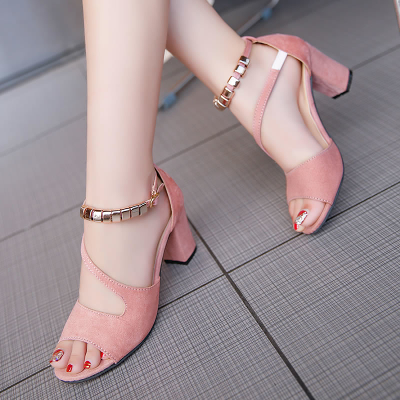 spring summer sexy fish mouth hollow Roman sandals thick with word with beaded high heels female summer Sexy female sandals 6