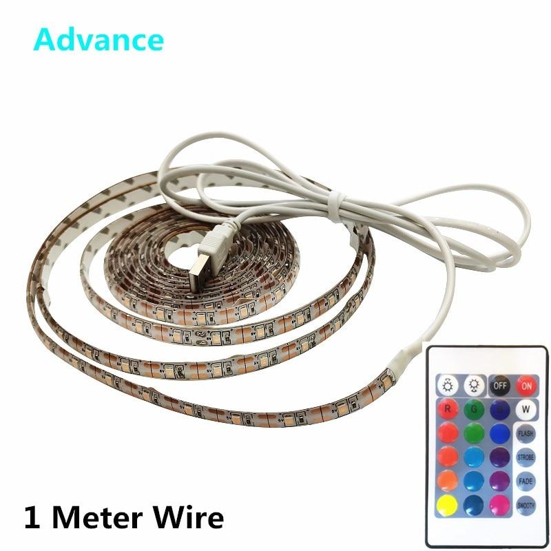 USB LED-Strip 1 Meter Wire SMD3528 Light 5V Adapter String Christmas Desk Tape TV Background Lighting 5V 50CM 1M 2M 3M 4M 5M