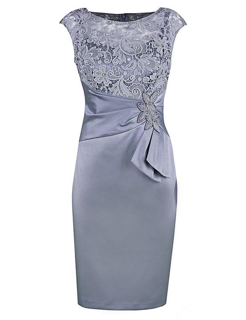 Real Photo Short Sheath Mother of the Bride Dresses Cap Sleeve Lace Satin Knee Length Party Dress Wedding Guest Gowns Custom
