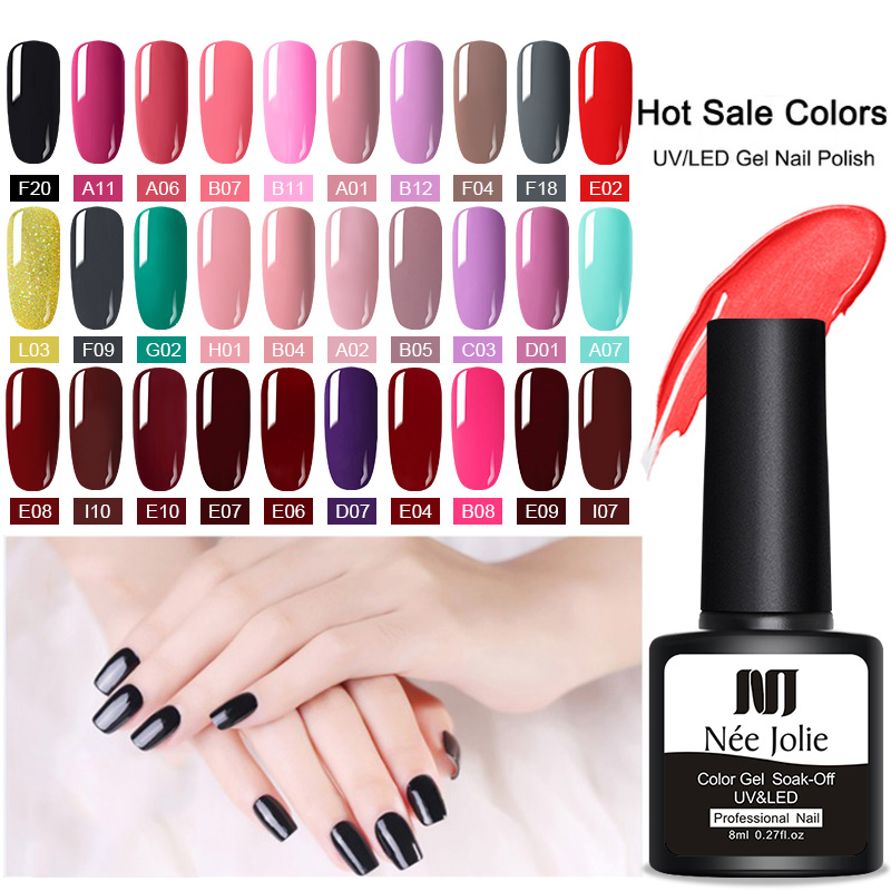 NEE JOLIE 8ml Gel Polish UV LED Nail Varnish Red Gray Gel Varnish Long Lasting Gel Soak Off Nail Art DIY Designs Tools