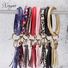 Multicolor PU Leather O Key Chain Custom Circle Tassel Wristlet Bangle Keychains Women Girl Key Ring Statement Jewelry personalized custom unique car key chains lanyards key ring key finder feather keychains leather tassel