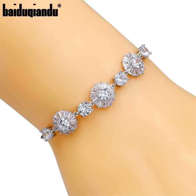 Bunga Cubic Zirkonia Crystal CZ Pernikahan Bridal Bridesmaid Adjustable Gelang Perhiasan