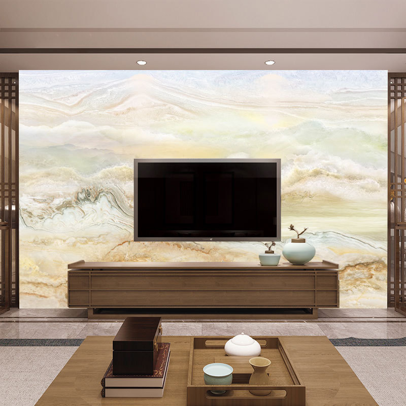 European Style Mural 8D Anti-Marble Wallpaper Mural Living Room Television Background Wall Wallpaper Top Grade Household Decorat