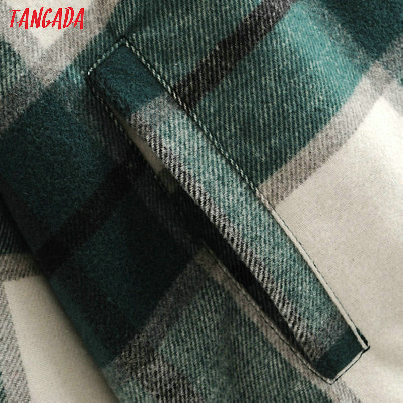 Deal¹Tangada Long Coat Jacket Warm Green Plaid Casual Winter Women Fashion High-Quality 3H04