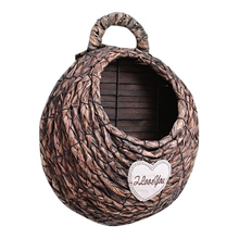 Hand-woven Flower Basket Wall Hanging Wooden Wicker Weaving Pot Decorative For Indoor Balcony Decoration