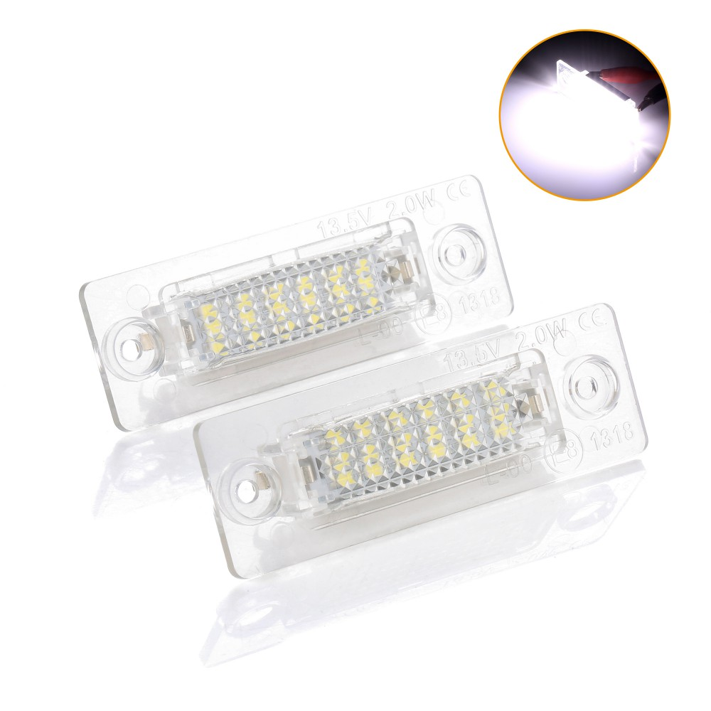 2PCs 18SMD Led Rear Number License Plate Light Lamp For VW Jetta Touran Passat B6 5D For Skoda Superb 1 3U B5 Car-Stylin(China)