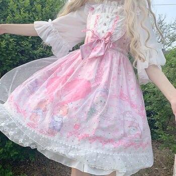 Lolita Skirt Original Genuine Sweetheart Town JSK Dungaree Dress Female Student Cute Low Price sweet lolita dress kitten in garden series sweet lolita jsk dress by soufflesong