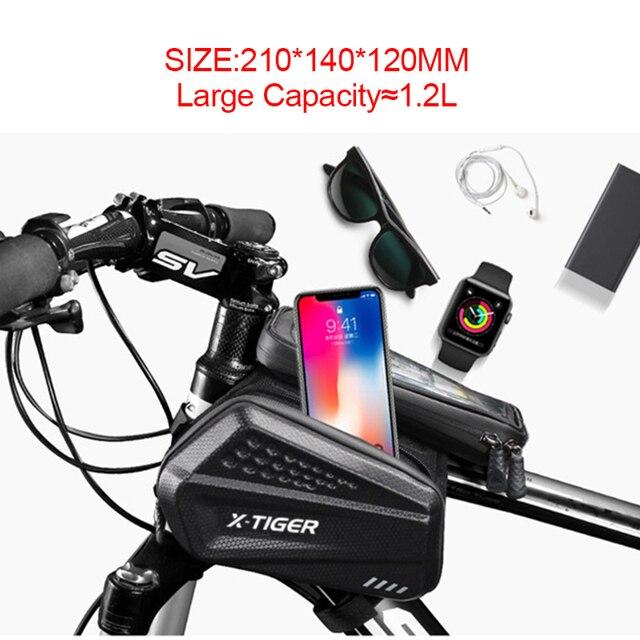Bolsa de ciclismo a prueba de lluvia X-TIGER, reflectante, a prueba de golpes, para marco de bicicleta, funda frontal para teléfono, accesorios para bolsa de ciclismo de montaña 2