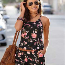 In 2020, Europe and the United States printed summer wear sleeveless jumpsuits c