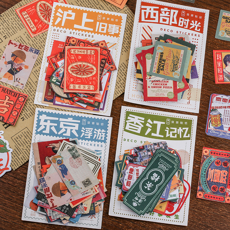 40 Pcs/pack Vintage Stamp Series Bullet Journal Decorative Stationery Japanese Stickers Scrapbooking DIY Diary Album Stick Lable