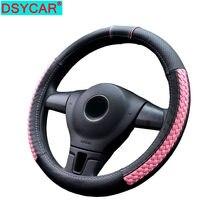 Dsycar 1 pçs couro genuíno cobertura de volante do carro respirável anti deslizamento capas de direção adequado 38cm decoração automóvel