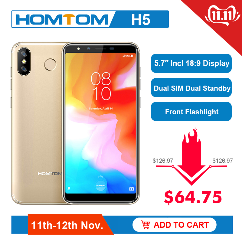 "HOMTOM H5 3GB 32GB Mobile Phone 3300mAh Fast Charge Android8.1 5.7"" Face ID 13MP Camera MT6739 Quad Core 4G FDD-LTE Smartphone"