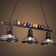 Lámpara colgante de mesa de billar nórdica Vintage hierro cristal sombra dormitorio comedor Cafetería Restaurante luces colgantes Deco lámpara colgante