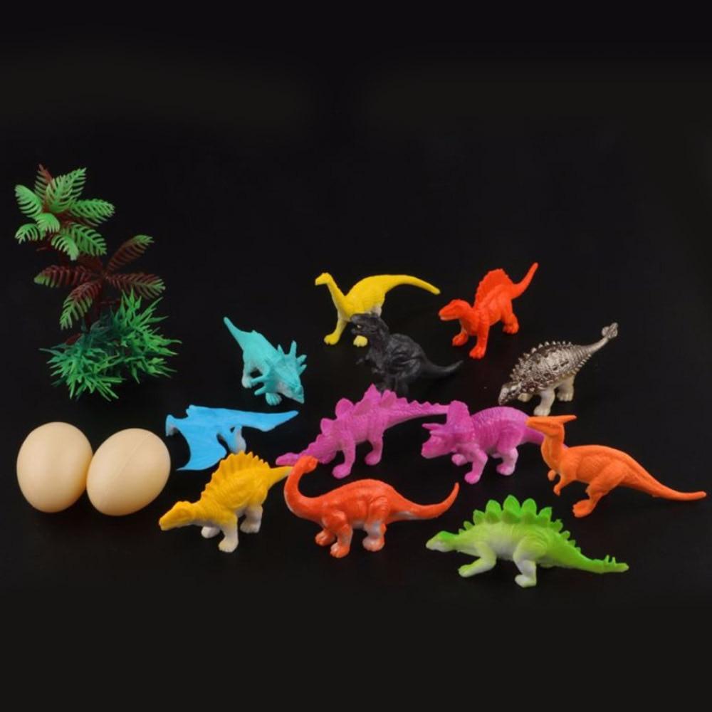 16pcs//lot Solid Plastic Simulation Dinosaur Mini Models Kids Playset Gift