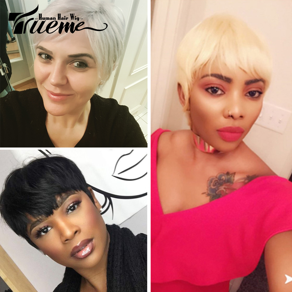 Trueme Brazilian Remy Short Bob Human Hair Wigs For Black Women Blonde Wigs 613 Ombre Short Straight Human Hair Full Wigs