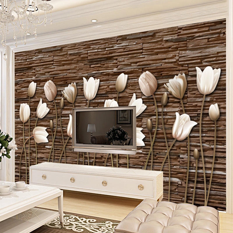 TV Backdrop Wallpaper Living Room Bedroom Adhesive Paper 3D Non-woven Wallpaper Seamless Wall Cloth Large Flower Mural