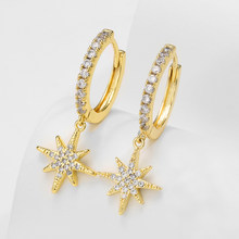 Neue Art Und Weise Nette Sterne Creolen Top Qualität Cz Kristall Clssic Charme Gold Ohrringe für Frauen Mädchen Schmuck Geschenk 2020