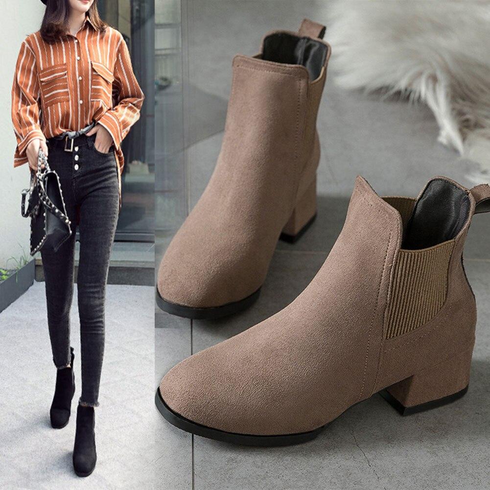 Women Flat Ankle Boots Suede Low Heel