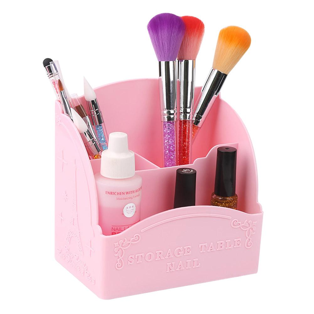 3/4 Cells Nail Art Painted Brushes Pen Holder Makeup Brushes Holder Box Desk Drawer Nail Polish Organizer Container Brush Case