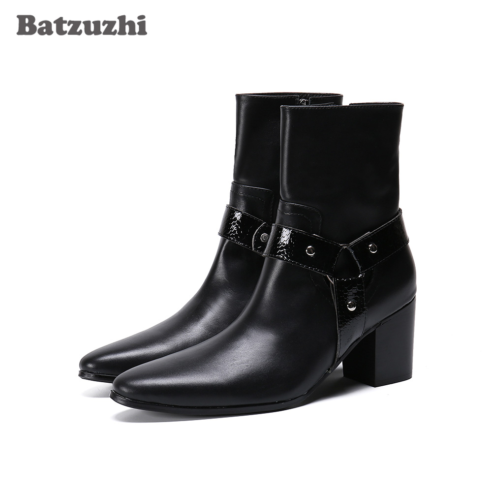 Batzuzhi 7.5cm High Heels Men Boots New Black Leather Ankle Boots Men Pointed Toe Ankle Boots For Men Wedding & Party,Size 38-46