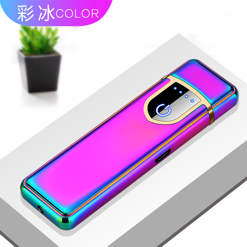 Can Engrave Lighter Electronic Charging USB Lighter Mini Windproof Mute Plasma Lighter Multicolor Choice Cigarette Accessories