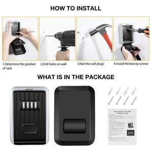 Image 5 - Porta chaves de parede, cofre para chaves, armazenamento, caixa de chaves, trava de armazenamento, com combinação de 4 dígitos, capa à prova d água para uso externo usar
