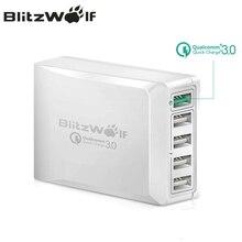 Blitzwolf BW S7 carga rápida qc3.0 adaptador usb carregador inteligente 5 portas carregador de mesa do telefone móvel carregador de viagem para smartphone