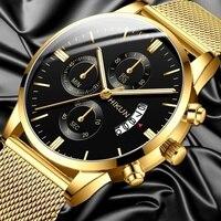 Moda męska zegarek siatka ze stali nierdzewnej pasek zegarki kalendarzowe Montre Homme Luxury Casual Business Quartz Watch prezenty dla mężczyzn