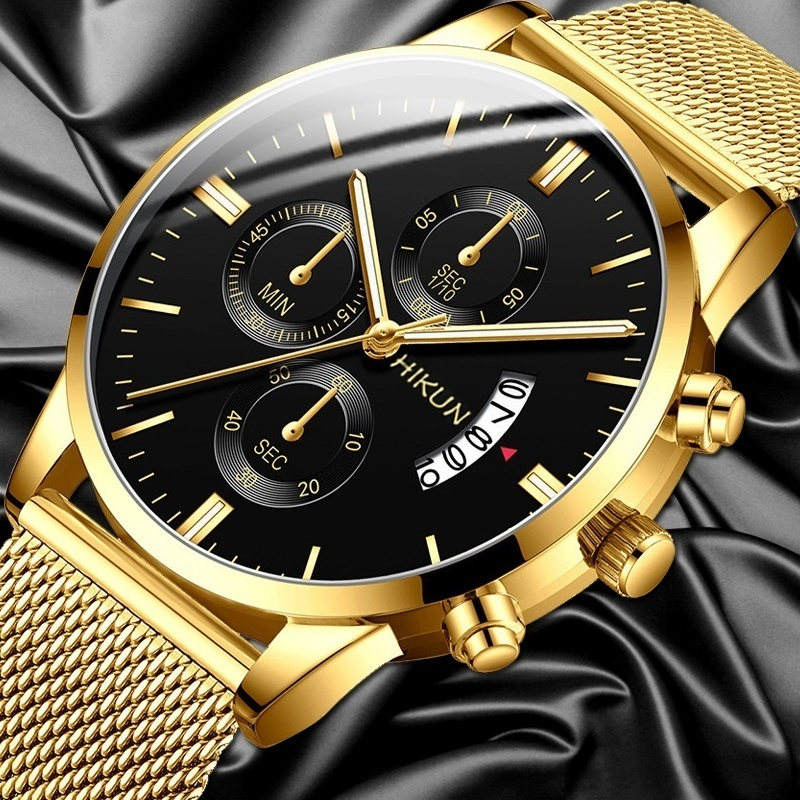 Mens Casual Watch Stainless Steel Mesh Band Calendar Watches Montre Homme Luxury Casual Business Quartz Watch Gifts For Men