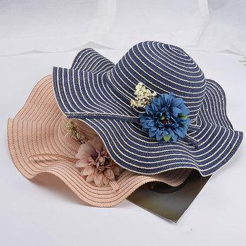 Ochrona UV floppy kapelusze plażowe damskie damskie kapelusze letnie szerokie rondo kapelusze słomkowe wielkie słońce kapelusze tanie i dobre opinie Dla dorosłych Słomy WOMEN M039 Na co dzień W paski