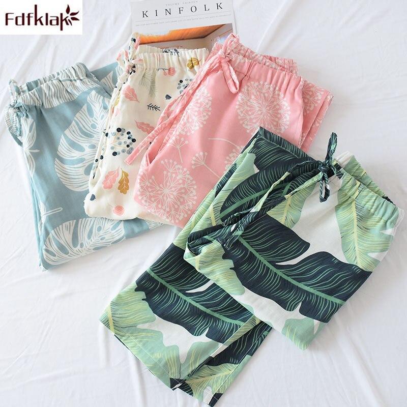 Fdfklak Ladies cotton double gauze pajamas pant spring summer autumn home pants with pockets casual large size trousers women