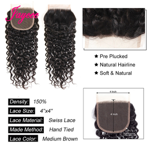 Image 4 - Jaycee Water Wave Bundles With Closure wet and wavy bundles With Closure Deep Wave Meche Bresilienne lot Mega Hair Cabelo Humano