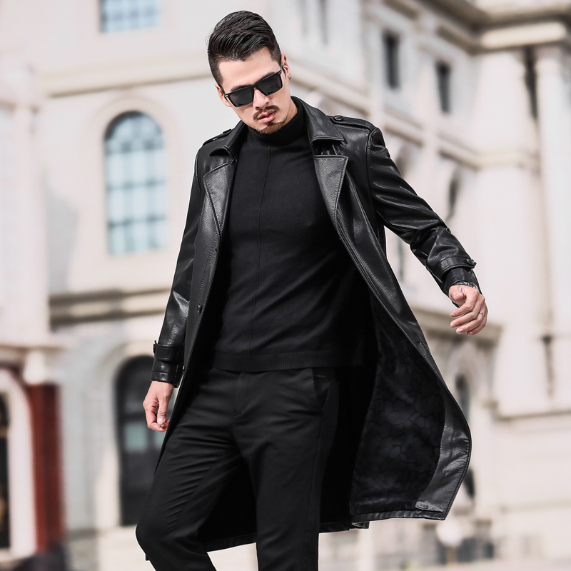 2019 New Fashion Autumn Winter Male Leather Jacket Plus Size 3XL 4XL Long Black Brown Mens Coats Leather Biker Jackets