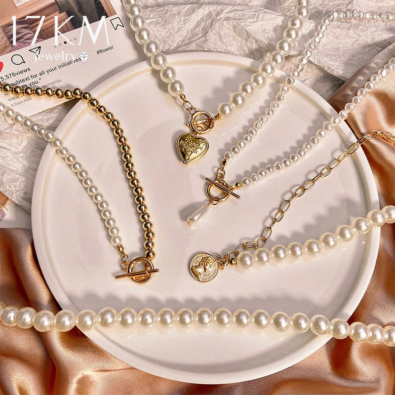 17KM Vintage Pearl Choker Necklace For Women Fashion Summer White Imitation Pearl Necklaces 2021 Trend Elegant Wedding Jewelry