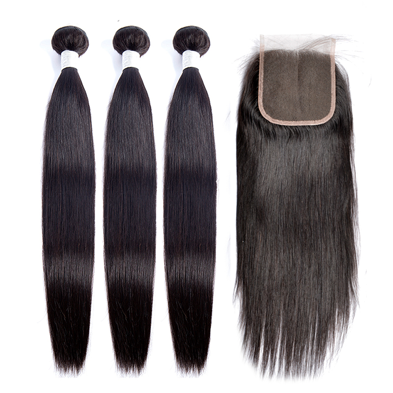 8-30 Inch Bundles With Closure Straight Human Hair Bundles With Closure Maxine Remy Brazilian Hair Weave With Closure And Bundle