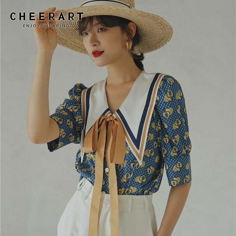 CHEERART Vintage Blouse Summer Top Blue Puff Sleeve Collar Shirt Women Loose Designer Ladies Tie Top Korean Fashion Clothing