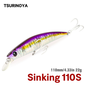 Tsurinoya 110s afundando minnow água salgada isca de pesca dw77 110mm 22g grande truta pique seabass rio lago duro iscas jerkbait