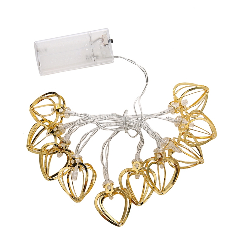Metal Hollow Love Heart Shaped Led Holiday Lights String