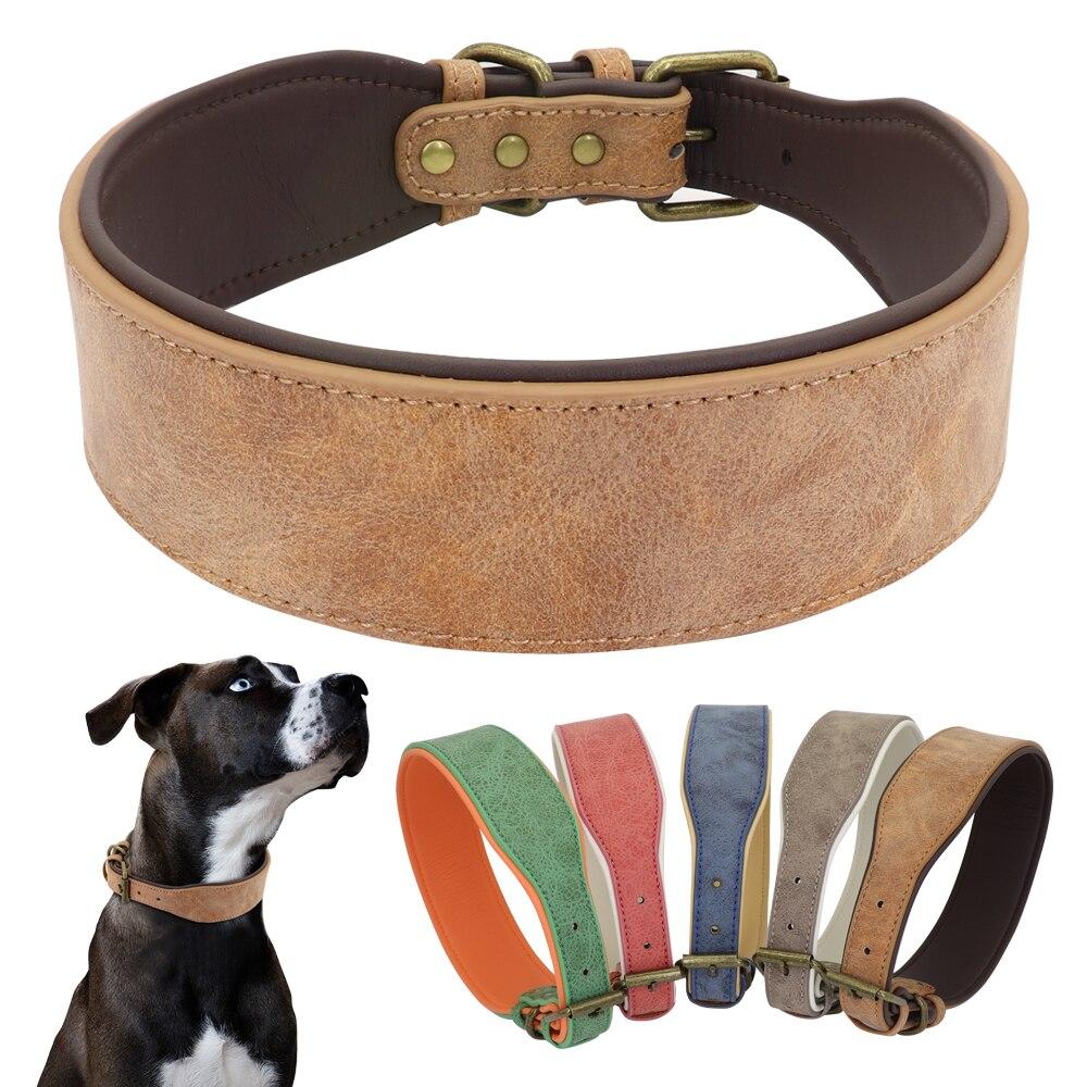 Collar de Perro de cuero ancho grande acolchado suave Perro collares Perro mediano grande Pitbull alemán Perro Bulldog XL 2XL