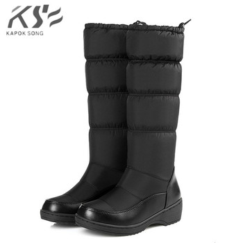 women boots 2019 down-fill warm boots lady softable snow boot black white blue women's boots