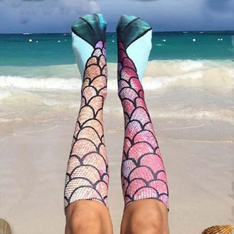 Women Girl's Cartoon Long Art Socks Kawaii Ladies Cotton Funny Socks Princess Mermaid Socks Fashion Tube Sock Christmas Gifts