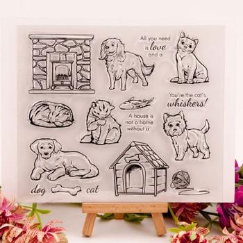 Caseta para perros y gatos de estilo Pet, línea ósea, kit de sellos transparentes para álbum para recortes de fotos, manualidades de silicona para hacer tarjetas