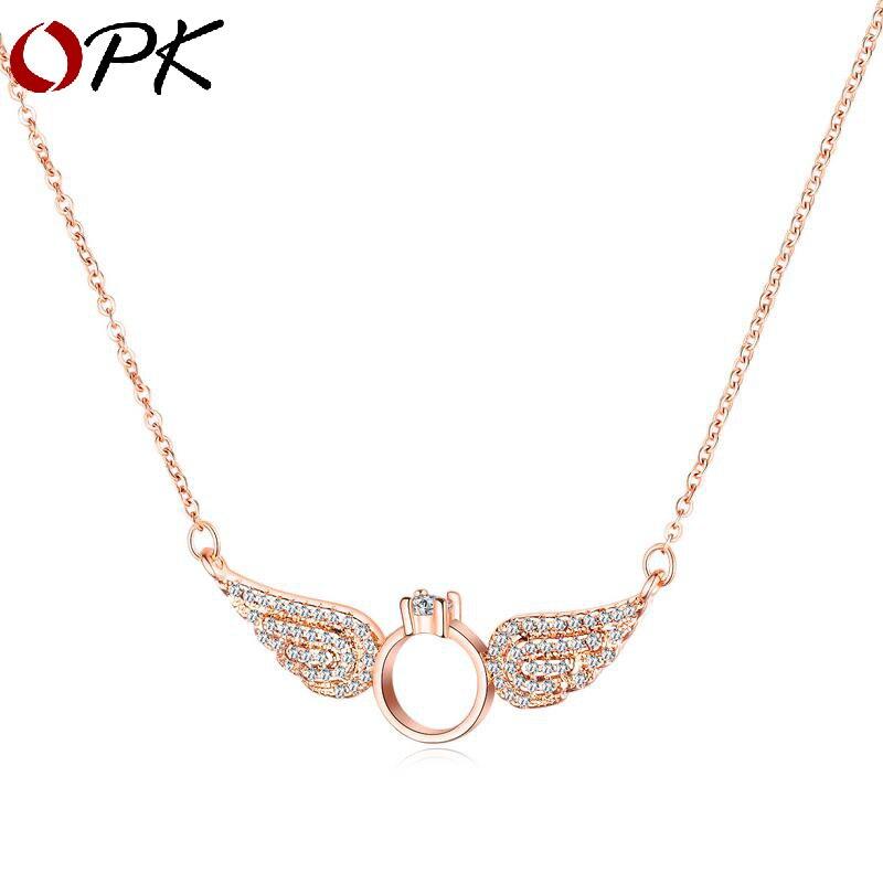 OPK collier femme japon corée du sud mode polyvalent collier ailes d'ange fairy anys collier cuivre plaqué bijoux