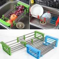 Регулируемая телескопическая кухонная сушилка из нержавеющей стали, сушилка для посуды, органайзер для хранения, поднос для фруктов и овощ...
