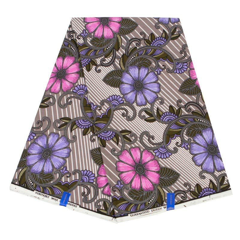 2019 New Arrivals 100% Cotton African Fabric Purple & Pink Flowers Print Pagnes African Real Wax 6Yard