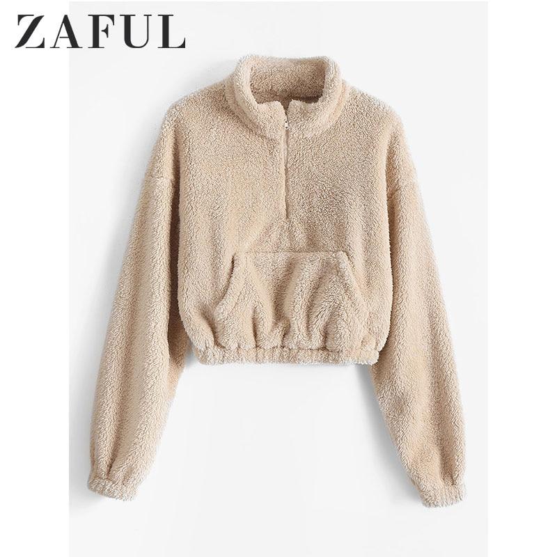 ZAFUL Women Front Pocket Half Zip Crop Faux Fur Sweatshirt Drop Shoulder Solid Color Tops Autumn Pullovers Newest 2019