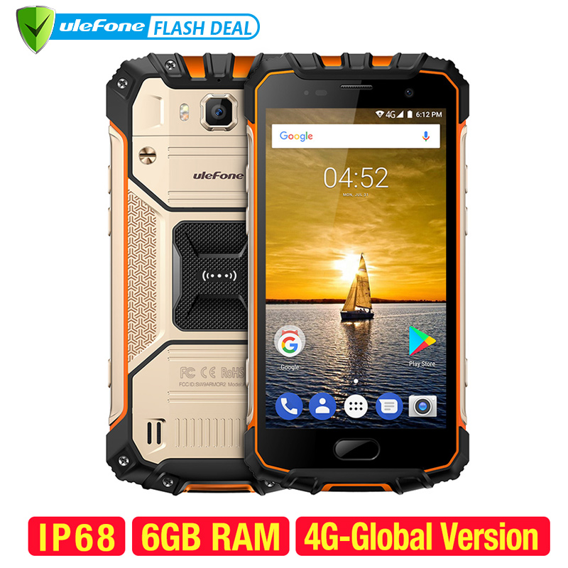 Ulefone Armor 2 téléphone portable étanche IP68 NFC 5.0 pouces FHD MTK6757 Octa Core Android 7.0 6GB RAM 64GB ROM 16MP 4G Smartphone
