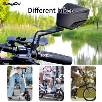 EasyDo 2 sztuk rowerów rowerów kierownica szeroki kąt lusterko wsteczne regulowany kierownica MTB korzystając z łączy z boku bezpieczeństwa elastyczne lusterka wsteczne tanie i dobre opinie ED3202 3203 bike mirror black High HD curve glass 200g pc 90*120mm bar between 20~22mm mount on handle bar 360 rotate anti losen screw design